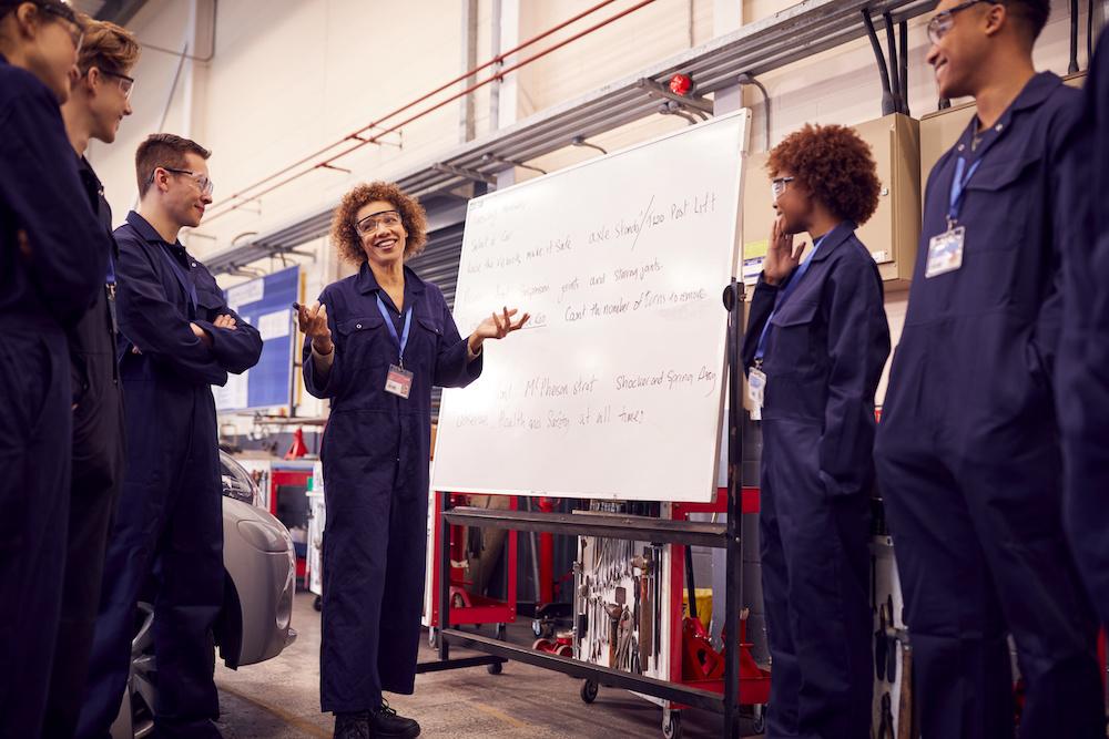 female technician teaching