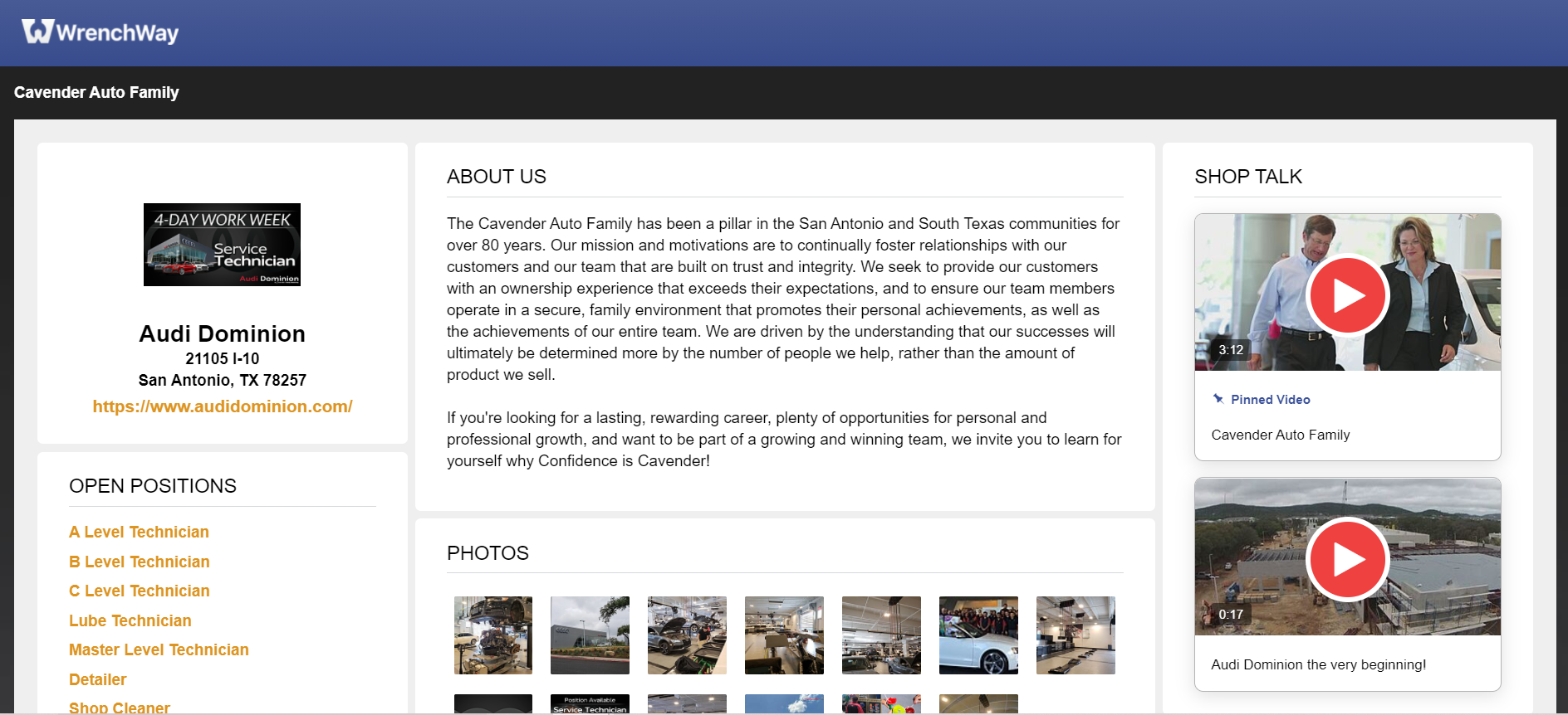 Audi Dominion Top Shop Page on WrenchWay