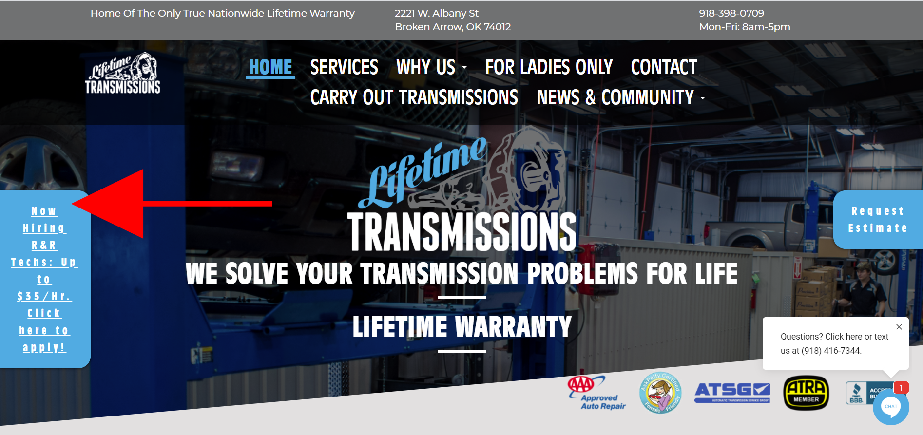 Lifetime Transmissions Homepage with Top Shop
